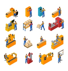 Factory Workers Icons Set vector