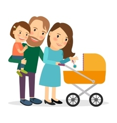Family with baby in stroller vector