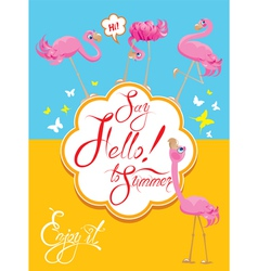 flamingo card 2 380 vector image