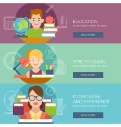 Flat education student pupil kid teacher people vector image