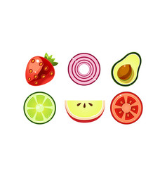 fresh fruits and vegetables set apple tomato vector image