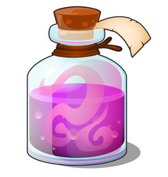 glass bottle with pink liquid closed tube with vector image