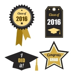 Graduation logos set Gold black Class of 2016 vector image
