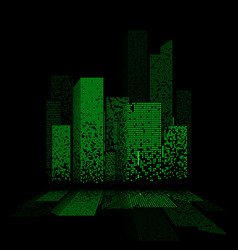 Green night city lights landscape design with vector