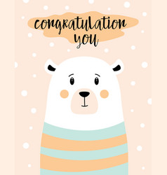 greeting card with cute white bear isolated vector image