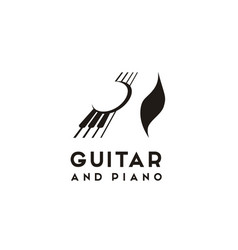 Guitar strings and piano key music instrument logo vector