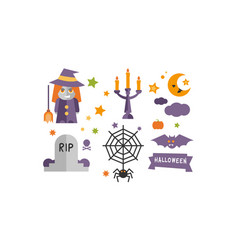halloween icons set witch candlestick vector image