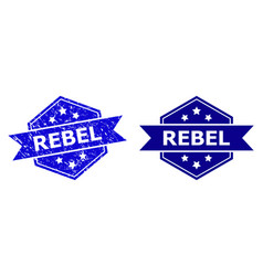 Hexagon rebel seal with unclean surface and clean vector