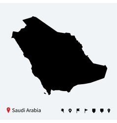 High detailed map of Saudi Arabia with navigation vector image