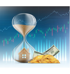 hourglass with a house real estate sales vector image