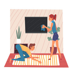 Husband and wife cleaning living room together vector