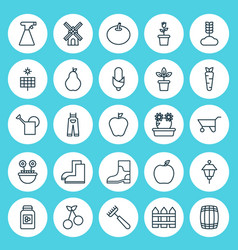 icons set collection of mill garden clothes vector image