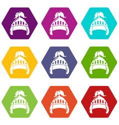 Knight helmet security icons set 9 vector