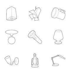 Lamp icons set outline style vector