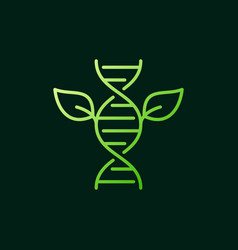 Leaves with dna green outline icon or sign vector