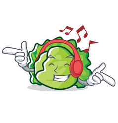 Listening music lettuce character cartoon style vector