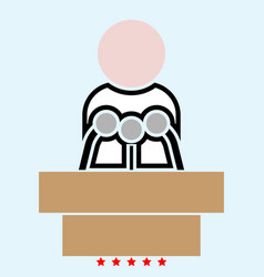 Man speaking from the rostrum icon color fill vector