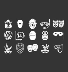 mask icon set grey vector image
