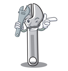 mechanic wrench character cartoon style vector image