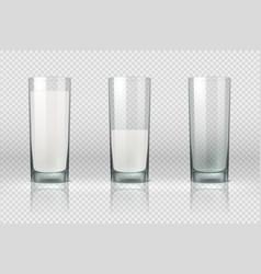 Milk glass realistic empty half full and full vector
