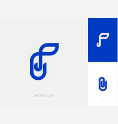 Modern line logo mark template with paper clip vector