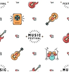 Music seamless pattern Rock festival vector image