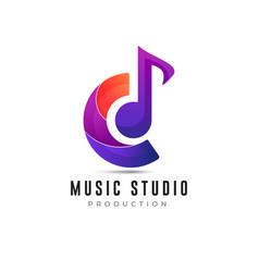 Music studio logo design colorful vector