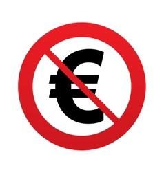No Euro sign icon EUR currency symbol vector