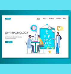 Ophthalmology website landing page design vector