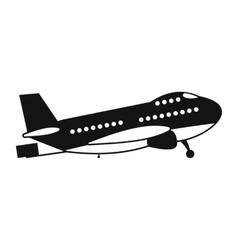 Passenger airplane black simple icon vector image