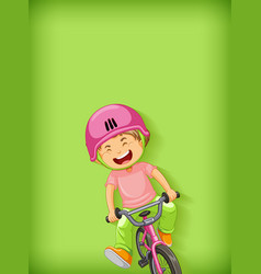 Plain background with boy riding bicycle vector