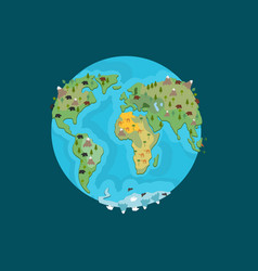 Planet earth and animals beast on continents vector