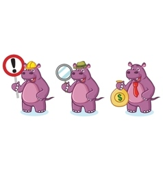 Purple Hippo Mascot money vector image