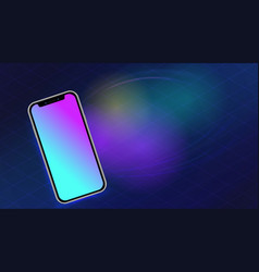 Realistic smartphone mockup on abstract blurred vector