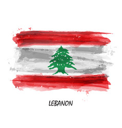 Realistic watercolor painting flag of lebanon vector