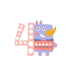Rhinoceros Standing Next To Number Four Stylized vector
