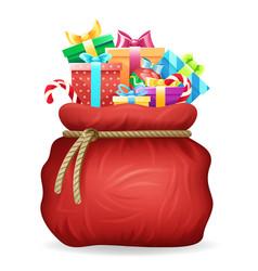 santa gifts bag christmas new year xmas isolated vector image