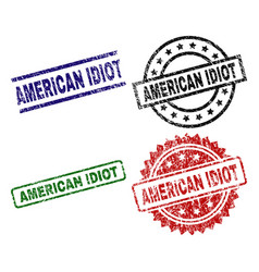 Scratched textured american idiot stamp seals vector
