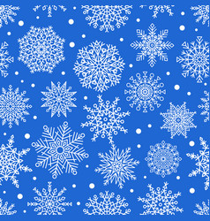 seamless pattern snowflakes ornamental patterns vector image