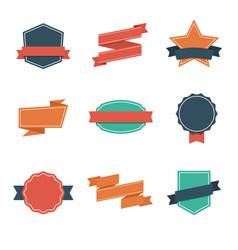 set modern flat design style badges vintage vector image