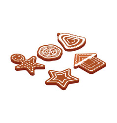 set of christmas gingerbreads isolated vector image