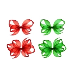 Set of Colored Green Red Gift Bows on Background vector