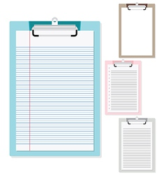 Set of plastic clipboard with paper vector
