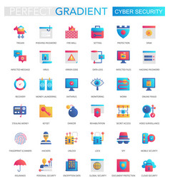 set trendy flat gradient cyber security vector image