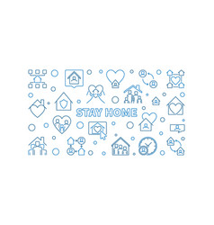 stay home concept outline horizontal vector image