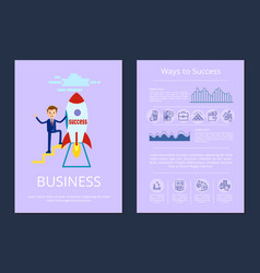 success and business set on vector image