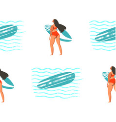 Surfing in girl surfers in vector