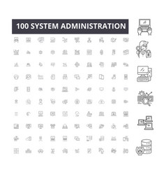 system administration editable line icons 100 vector image