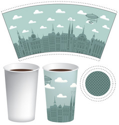 Template paper cup with the background of old town vector