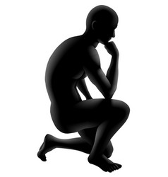 Thinker silhouette concept vector
